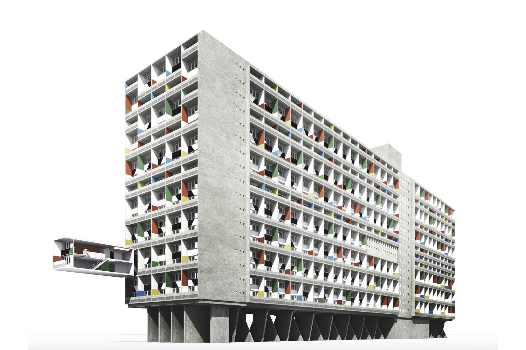 Le Corbusier Unite D Habitation apartment 258 – the 3d painting in the berlin living machine